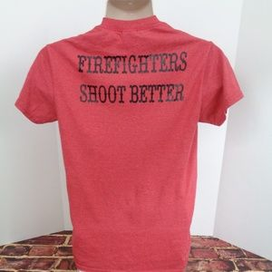 Firefighters SHOOT BETTER Red T Shirt Mens Small